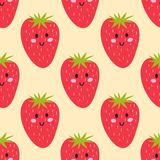 Cartoon fresh strawberry fruits in flat style seamless pattern food summer design vector illustration. Cartoon fresh strawberry fruits in flat style seamless Royalty Free Stock Images