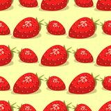 Cartoon fresh strawberry fruits seamless pattern background berry summer design vector illustration. Cartoon fresh strawberry fruits in flat style seamless stock illustration