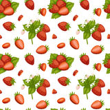 Cartoon fresh strawberry fruits seamless pattern berry summer design vector illustration. Cartoon fresh strawberry fruits in flat style seamless pattern food Royalty Free Stock Images