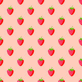 Cartoon fresh strawberry fruits seamless pattern berry summer design vector illustration. Cartoon fresh strawberry fruits in flat style seamless pattern food Royalty Free Stock Photography