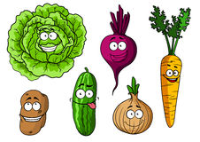 Cartoon fresh vegetables set Royalty Free Stock Image