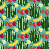 Cartoon fresh watermelon banana apple fruits in flat style seamless pattern background food summer design vector. Cartoon fresh watermelon banana apple fruits in Stock Images
