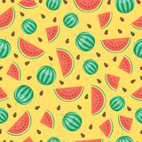 Cartoon fresh watermelon fruits in flat style seamless pattern food summer design vector illustration. Royalty Free Stock Images