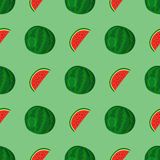 Cartoon fresh watermelon fruits in flat style seamless pattern food summer design vector illustration. Royalty Free Stock Photo