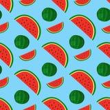 Cartoon fresh watermelon fruits in flat style seamless pattern food summer design vector illustration. Stock Photography