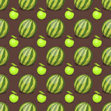Cartoon fresh watermelon fruits in flat style seamless pattern food summer design vector illustration. Cartoon fresh watermelon fruits in flat style seamless Royalty Free Stock Image