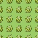Cartoon fresh watermelon fruits in flat style seamless pattern food summer design vector illustration. Cartoon fresh watermelon fruits in flat style seamless Stock Photography