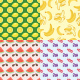 Cartoon fresh watermelon fruits in flat style seamless pattern food summer design vector illustration. Cartoon fresh watermelon fruits in flat style seamless Royalty Free Stock Images