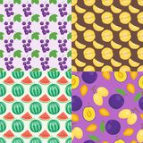 Cartoon fresh watermelon fruits in flat style seamless pattern food summer plum design vector illustration. Cartoon fresh watermelon fruits in flat style Stock Photos