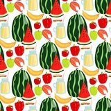 Cartoon fresh watermelon fruits picnic food summer nature flat style seamless pattern design vector illustration. Cartoon fresh watermelon fruits picnic food Royalty Free Stock Photos
