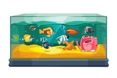 Cartoon freshwater fishes in tank aquarium vector illustration. Exotic cartoon fish in aquarium illustration Stock Images