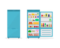 Cartoon Fridge Open and Closed. Vector. Cartoon Fridge Open and Closed Full Of Food. Refrigerator or Fridge for Home Flat Design Style Vector illustration Stock Image