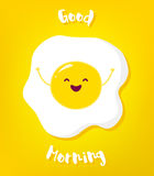 Cartoon fried egg raises hands and smiles. Good morning vector card Stock Image