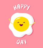Cartoon fried egg raises hands and smiles. Vector card Stock Images