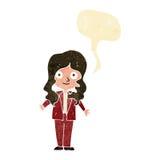 Cartoon friendly business woman with speech bubble Stock Photos
