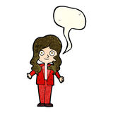 Cartoon friendly business woman with speech bubble Stock Photography