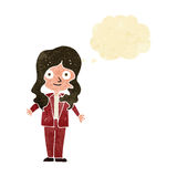 Cartoon friendly business woman with thought bubble Stock Photo