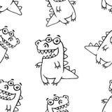 Cartoon friendly dragon pattern. Vector illustration. Funny cute imaginary character Royalty Free Stock Photo