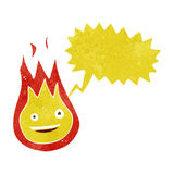 Cartoon friendly fireball with speech bubble Royalty Free Stock Photo