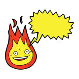 Cartoon friendly fireball with speech bubble Royalty Free Stock Images