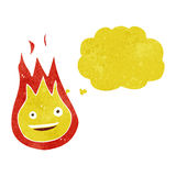Cartoon friendly fireball with thought bubble Royalty Free Stock Photo
