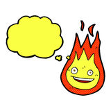Cartoon friendly fireball with thought bubble Stock Image