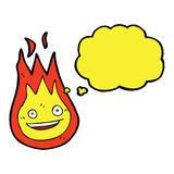 Cartoon friendly fireball with thought bubble Royalty Free Stock Photography