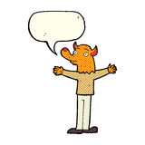 cartoon friendly fox person with speech bubble Royalty Free Stock Images