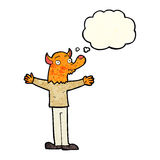 Cartoon friendly fox person with thought bubble Stock Images