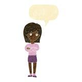 Cartoon friendly girl rolling eyes with speech bubble Stock Photo