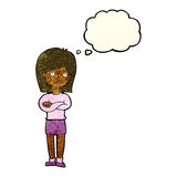 Cartoon friendly girl rolling eyes with thought bubble Royalty Free Stock Photography