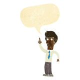 Cartoon friendly man with idea with speech bubble Royalty Free Stock Images
