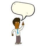 Cartoon friendly man with idea with speech bubble Stock Photography