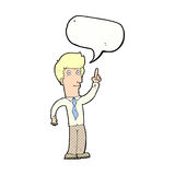 Cartoon friendly man with idea with speech bubble Royalty Free Stock Photography