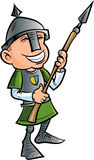 Cartoon friendly spear holder with helmet. Isolated Royalty Free Stock Photo