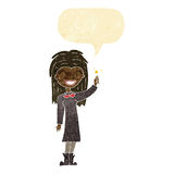 Cartoon friendly witch girl with speech bubble Royalty Free Stock Images