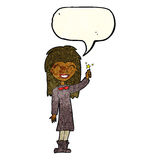 Cartoon friendly witch girl with speech bubble Royalty Free Stock Photography