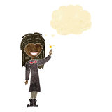 Cartoon friendly witch girl with thought bubble Stock Images