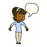 Cartoon friendly woman shrugging shoulders with speech bubble Royalty Free Stock Images