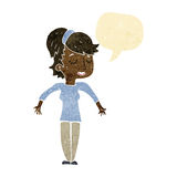 Cartoon friendly woman shrugging shoulders with speech bubble Royalty Free Stock Image