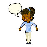 Cartoon friendly woman shrugging shoulders with speech bubble Royalty Free Stock Photography