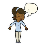 Cartoon friendly woman shrugging shoulders with speech bubble Stock Photo