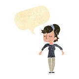 Cartoon friendly woman shrugging shoulders with speech bubble Royalty Free Stock Photos