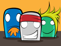 Cartoon friends. 3 thumb cartoon friends basically designed as band members Royalty Free Stock Photography
