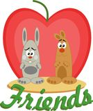 Cartoon friends. Cute animals on the background of the Apple heart-shaped red Stock Illustration