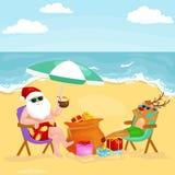 Cartoon friends drinking cocktails on summer beach vector illustration