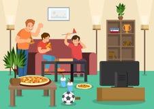 Cartoon friends fans eat pizza watching football vector illustration
