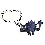 Cartoon frightened black cat with speech bubble Royalty Free Stock Images