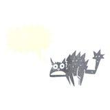 Cartoon frightened black cat with speech bubble Stock Photos