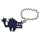 Cartoon frightened black cat with speech bubble Stock Image